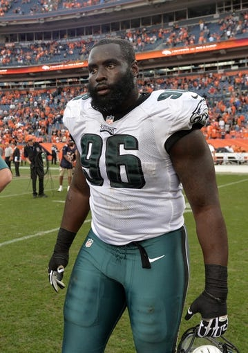 Sep 29, 2013; Denver, CO, USA; Philadelphia Eagles defensive tackle Bennie Logan (96) following the loss to the Denver Broncos at Sports Authority Field at Mile High. The Broncos defeated the Eagles 52-20. Mandatory Credit: Ron Chenoy-USA TODAY Sports