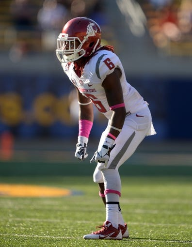 Oct 5, 2013; Berkeley, CA, USA; Washington State Cougars cornerback Damonte Horton (6) during the game against the California Golden Bears at Memorial Stadium. Washington State defeated California 44-22. Mandatory Credit: Kirby Lee-USA TODAY Sports