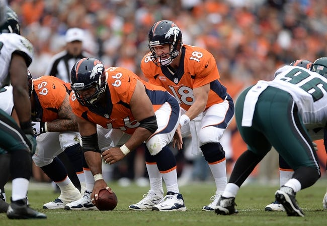 Sep 29, 2013; Denver, CO, USA; Denver Broncos quarterback Peyton Manning (18) calls for a hike from center Manny Ramirez (66) during the game against the Philadelphia Eagles at Sports Authority Field at Mile High. Mandatory Credit: Ron Chenoy-USA TODAY Sports