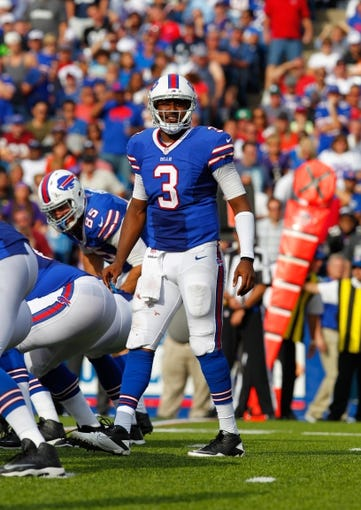 Sep 29, 2013; Orchard Park, NY, USA; Buffalo Bills quarterback EJ Manuel (3) calls a play against the Baltimore Ravens at Ralph Wilson Stadium. Bills beat Ravens 23 to 20.  Mandatory Credit: Timothy T. Ludwig-USA TODAY Sports