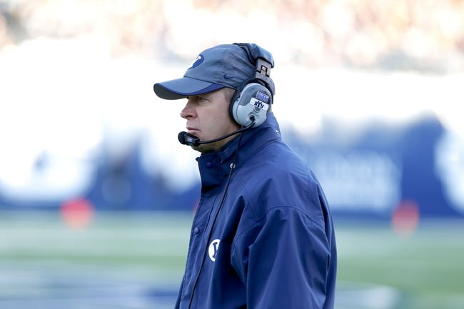 Oct 4, 2013; Logan, UT, USA; Brigham Young Cougars head coach Bronco Mendenhall looks out on the field during the game against the Utah State Aggies at Romney Stadium.  Brigham Young Cougars defeated the Utah State Aggies 31-14.  Mandatory Credit: Chris Nicoll-USA TODAY Sports