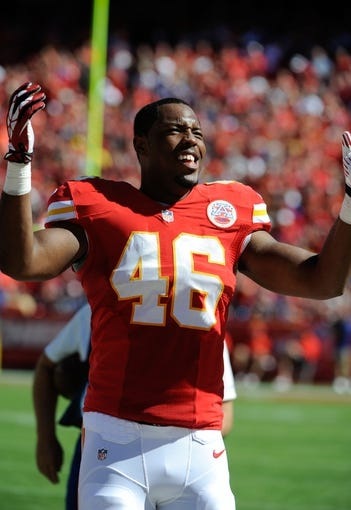 Sep 29, 2013; Kansas City, MO, USA; Kansas City Chiefs tight end Kevin Brock (46) on the sidelines in the second half against the New York Giants at Arrowhead Stadium. Kansas City won the game 31-7. Mandatory Credit: John Rieger-USA TODAY Sports