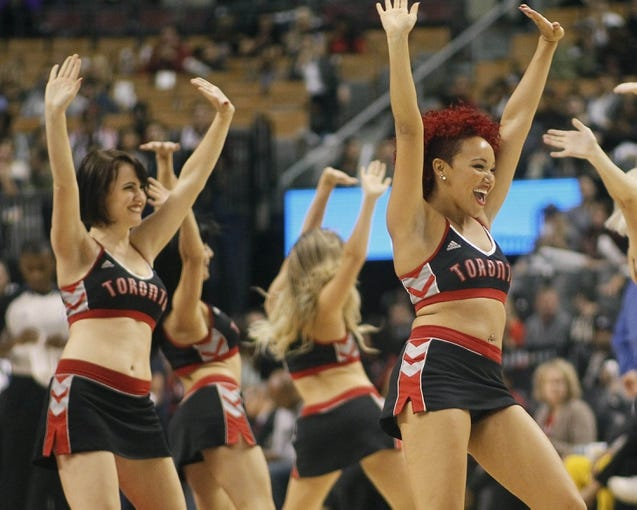 Oct 9, 2013; Toronto, Ontario, CAN; Toronto Raptors dancers during the first half against the Minnesota Timberwolves at the Air Canada Centre. Mandatory Credit: John E. Sokolowski-USA TODAY Sportse