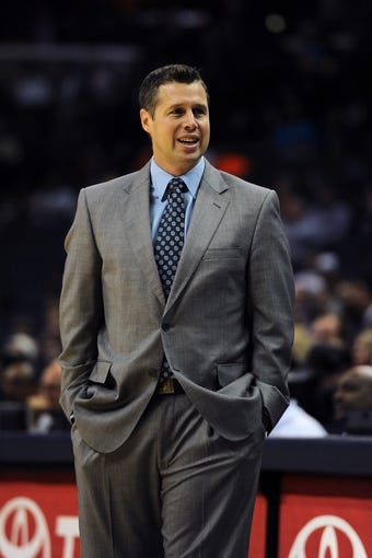 Oct 9, 2013; Memphis, TN, USA; Memphis Grizzlies head coach Dave Joerger reacts to a call against the Dallas Mavericks at FedExForum. Mandatory Credit: Justin Ford-USA TODAY Sports