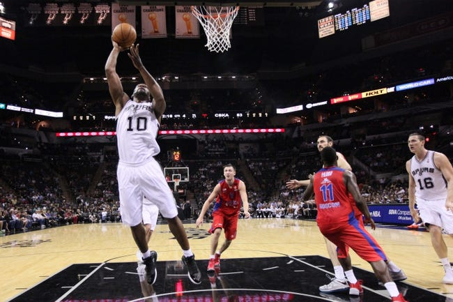 Oct 9, 2013; San Antonio, TX, USA; San Antonio Spurs forward Sam Young (10) shoots during the second half against the CSKA Moscow at the AT&T Center. The Spurs won 95-93 in overtime. Mandatory Credit: Soobum Im-USA TODAY Sports