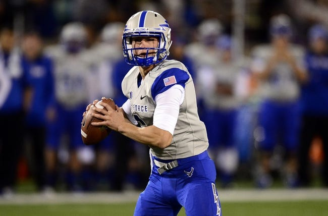 Oct 10, 2013; Colorado Springs, CO, USA; Air Force Falcons quarterback Nate Romine (6) prepares to pass in the second quarter against the San Diego State Aztecs at Falcon Stadium. Mandatory Credit: Ron Chenoy-USA TODAY Sports