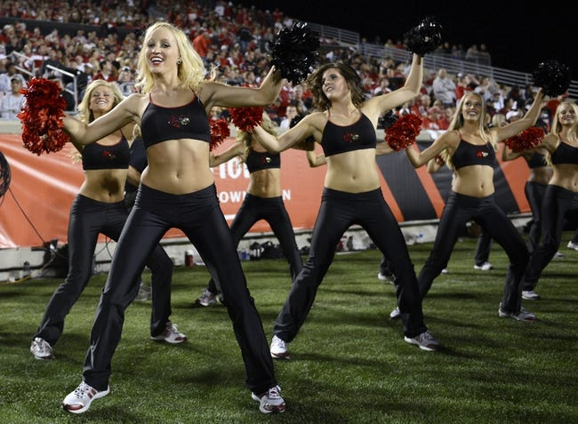 Oct 10, 2013; Louisville, KY, USA; The Louisville Cardinals Ladybirds performed during the second half against the Rutgers Scarlet Knights at Papa John's Cardinal Stadium. Louisville defeated Rutgers 24-10.  Mandatory Credit: Jamie Rhodes-USA TODAY Sports