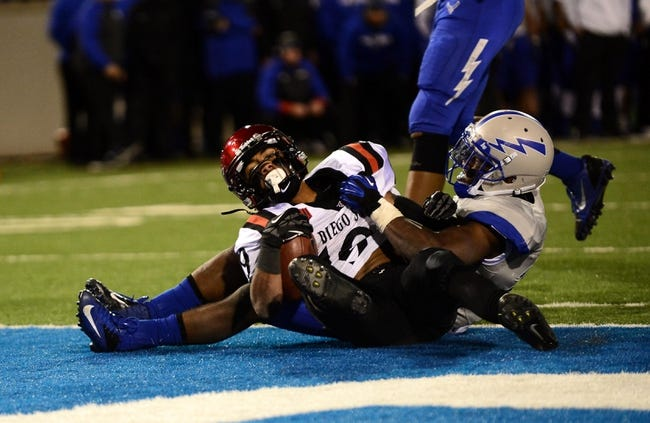 Oct 10, 2013; Colorado Springs, CO, USA; San Diego State Aztecs running back Donnel Pumphrey (19) scores the go ahead touchdown as he is tackled by Air Force Falcons linebacker Spencer Proctor (36) late in the fourth quarter at Falcon Stadium. Mandatory Credit: Ron Chenoy-USA TODAY Sports