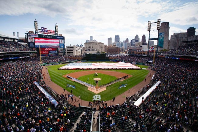 Oct 7, 2013; Detroit, MI, USA; General view during the national anthem before game three of the American League divisional series playoff baseball game between the Detroit Tigers and the Oakland Athletics at Comerica Park. Mandatory Credit: Rick Osentoski-USA TODAY Sports