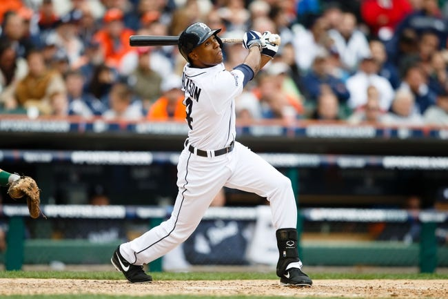 Oct 7, 2013; Detroit, MI, USA; Detroit Tigers center fielder Austin Jackson (14) at bat against the Oakland Athletics in game three of the American League divisional series playoff baseball game at Comerica Park. Mandatory Credit: Rick Osentoski-USA TODAY Sports