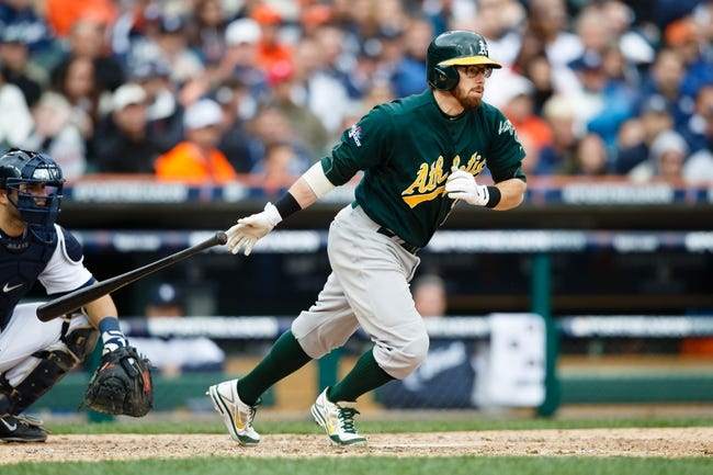 Oct 7, 2013; Detroit, MI, USA; Oakland Athletics second baseman Eric Sogard (28) at bat against the Detroit Tigers in game three of the American League divisional series playoff baseball game at Comerica Park. Mandatory Credit: Rick Osentoski-USA TODAY Sports
