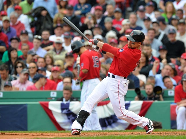 Oct 4, 2013; Boston, MA, USA; Boston Red Sox center fielder Jacoby Ellsbury (2) bats during the third inning in game one of the American League divisional series playoff baseball game against the Tampa Bay Rays at Fenway Park. Mandatory Credit: Bob DeChiara-USA TODAY Sports
