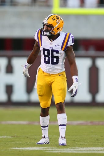 Oct 5, 2013; Starkville, MS, USA; LSU Tigers wide receiver Kadron Boone (86) waits for the snap during the game against the Mississippi State Bulldogs at Davis Wade Stadium.  LSU Tigers defeated the Mississippi State Bulldogs 59-26.  Mandatory Credit: Spruce Derden-USA TODAY Sports
