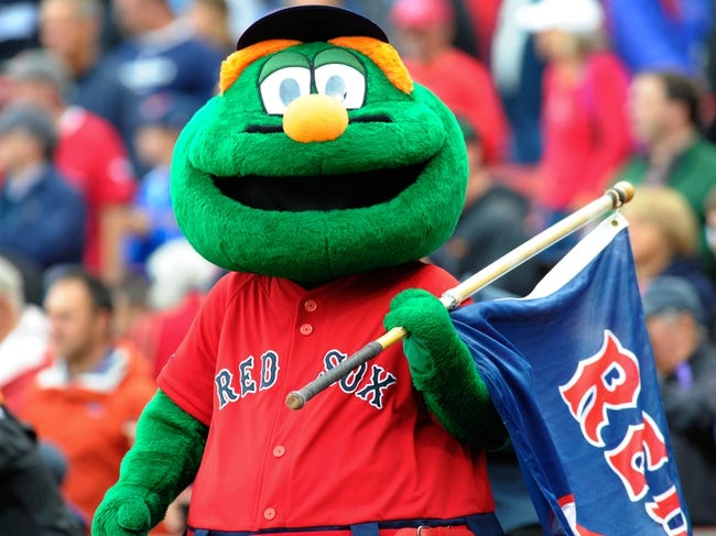 Oct 4, 2013; Boston, MA, USA; Boston Red Sox mascot Wally prior to game one of the American League divisional series playoff baseball game between the Boston Red Sox and Tampa Bay Rays at Fenway Park. Mandatory Credit: Bob DeChiara-USA TODAY Sports