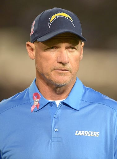 Oct 6, 2013; Oakland, CA, USA; San Diego Chargers offensive coordinator Ken Whisenhunt during the game against the Oakland Raiders at O.co Coliseum. The Raiders defeated the Chargers 27-17. Mandatory Credit: Kirby Lee-USA TODAY Sports