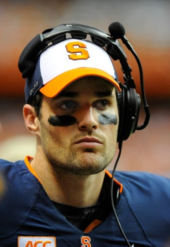 Oct 5, 2013; Syracuse, NY, USA; Syracuse Orange quarterback Charley Loeb (17) looks on from the sidelines during the fourth quarter against the Clemson Tigers at the Carrier Dome.  Clemson defeated Syracuse 49-14.  Mandatory Credit: Rich Barnes-USA TODAY Sports