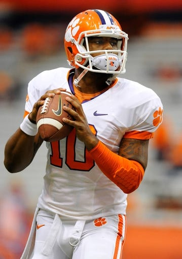 Oct 5, 2013; Syracuse, NY, USA; Clemson Tigers quarterback Tajh Boyd (10) warms up prior to the game against the Syracuse Orange at the Carrier Dome.  Mandatory Credit: Rich Barnes-USA TODAY Sports