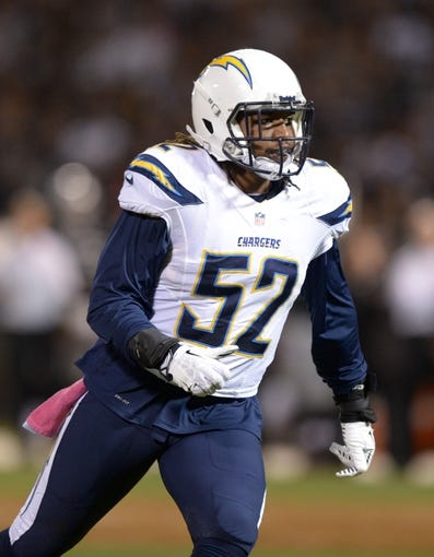Oct 6, 2013; Oakland, CA, USA; San Diego Chargers linebacker Reggie Walker (52) during the game against the Oakland Raiders at O.co Coliseum. The Raiders defeated the Chargers 27-17. Mandatory Credit: Kirby Lee-USA TODAY Sports