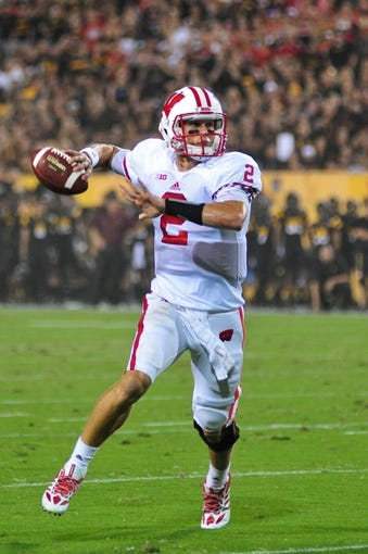 Sep 14, 2013; Tempe, AZ, USA; Wisconsin Badgers quarterback Joel Stave (2) during the game against the Arizona State Sun Devils at Sun Devil Stadium. Mandatory Credit: Matt Kartozian-USA TODAY Sports