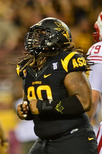 Sep 14, 2013; Tempe, AZ, USA; Arizona State Sun Devils defensive tackle Will Sutton (90) during the game against the Wisconsin Badgers at Sun Devil Stadium. Mandatory Credit: Matt Kartozian-USA TODAY Sports