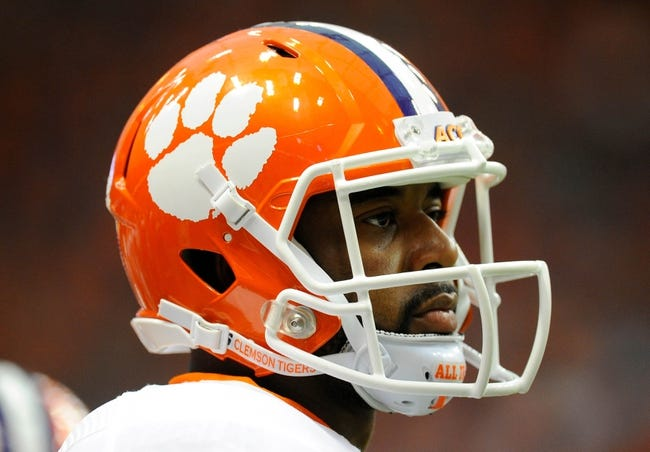 Oct 5, 2013; Syracuse, NY, USA; Clemson Tigers quarterback Tajh Boyd (10) looks on from the sidelines during the first quarter against the Syracuse Orange at the Carrier Dome.  Clemson defeated Syracuse 49-14.  Mandatory Credit: Rich Barnes-USA TODAY Sports