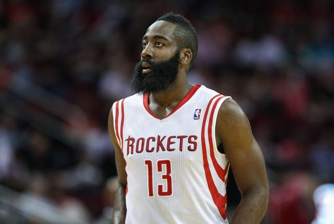 Oct 5, 2013; Houston, TX, USA; Houston Rockets shooting guard James Harden (13) reacts after a play against the New Orleans Pelicans at Toyota Center. Mandatory Credit: Troy Taormina-USA TODAY Sports