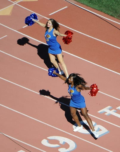Oct 5, 2013; Lawrence, KS, USA; Kansas Jayhawks cheerleaders perform against the Texas Tech Red Raiders in the second half at Memorial Stadium. Texas Tech won the game 54-16. Mandatory Credit: John Rieger-USA TODAY Sports