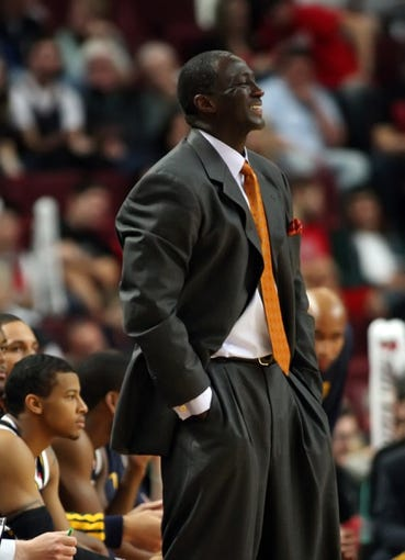 Oct 11, 2013; Boise, ID, USA; Jazz head coach Tyrone Corbin reacts during the first half verses the Portland Trail Blazers at CenturyLink Arena. Mandatory Credit: Brian Losness-USA TODAY Sports