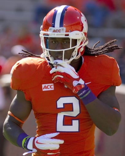 Oct 12, 2013; Clemson, SC, USA; Clemson Tigers wide receiver Sammy Watkins (2) warms up prior to the game against the Boston College Eagles at Clemson Memorial Stadium. Mandatory Credit: Joshua S. Kelly-USA TODAY Sports