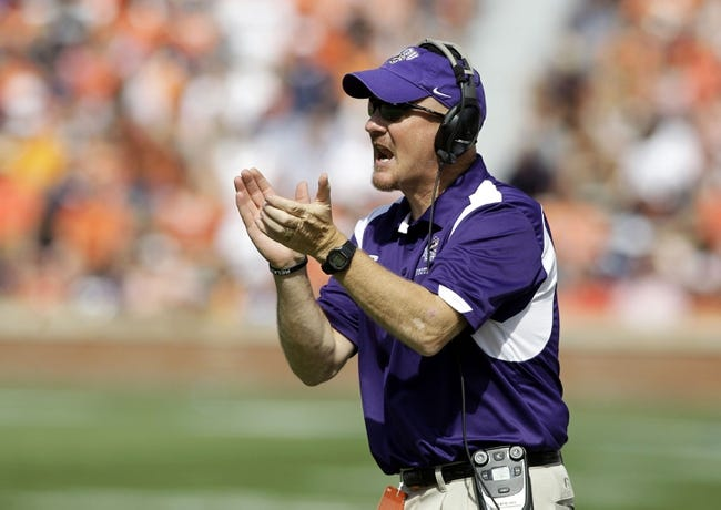 Oct 12, 2013; Auburn, AL, USA; Western Carolina Catamounts head coach Mark Speir reacts after a play against the Auburn Tigers during the first half at Jordan Hare Stadium. Mandatory Credit: John Reed-USA TODAY Sports