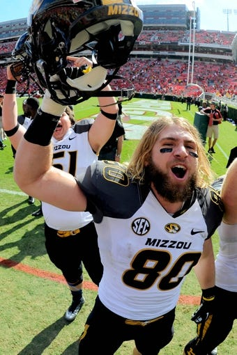 Oct 12, 2013; Athens, GA, USA; Missouri Tigers tight end Sean Culkin (80) reacts after defeating the Georgia Bulldogs at Sanford Stadium. Missouri defeated Georgia 41-26. Mandatory Credit: Dale Zanine-USA TODAY Sports