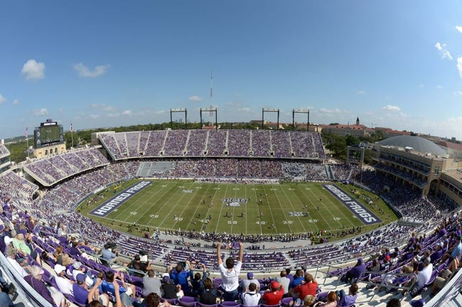 Oct 12, 2013; Fort Worth, TX, USA; General view of the Amon G. Carter Stadium during the NCAA football game between the Kansas Jayhawks and the TCU Horned Frogs. Mandatory Credit: Kirby Lee-USA TODAY Sports
