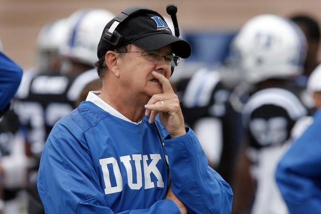 Oct 12, 2013; Durham, NC, USA; Duke Blue Devils head coach David Cutcliffe on the sidelines against the Navy Midshipmen at Wallace Wade Stadium. Mandatory Credit: Mark Dolejs-USA TODAY Sports