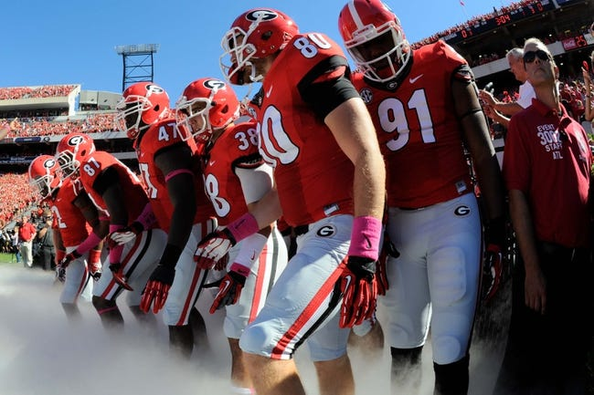 Oct 12, 2013; Athens, GA, USA; The Georgia Bulldogs prepare to run onto the field for the game against the Missouri Tigers at Sanford Stadium. Missouri defeated Georgia 41-26. Mandatory Credit: Dale Zanine-USA TODAY Sports