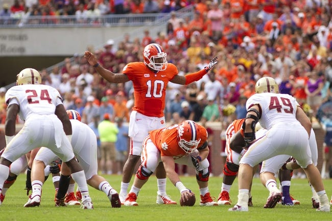 Oct 12, 2013; Clemson, SC, USA; Clemson Tigers quarterback Tajh Boyd (10) prior to the snap against the Boston College Eagles during the first quarter at Clemson Memorial Stadium. Mandatory Credit: Joshua S. Kelly-USA TODAY Sports