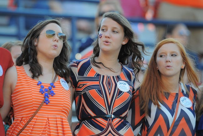 Oct 12, 2013; Auburn, AL, USA; Auburn Tigers students sing the alma mater after the game against the Western Carolina Catamounts at Jordan Hare Stadium. The Tigers defeated the Catamounts 62-3. Mandatory Credit: Shanna Lockwood-USA TODAY Sports