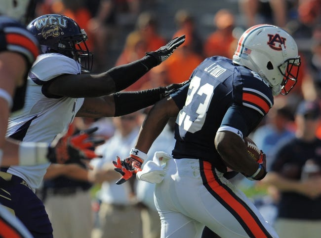 Oct 12, 2013; Auburn, AL, USA; Auburn Tigers running back Johnathan Ford (23) runs the ball for a touchdown in the second half against the Western Carolina Catamounts at Jordan Hare Stadium. The Tigers defeated the Catamounts 62-3.  Mandatory Credit: Shanna Lockwood-USA TODAY Sports