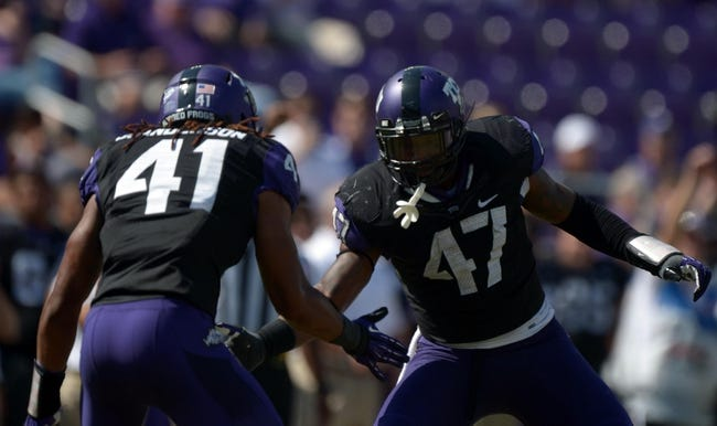 Oct 12, 2013; Fort Worth, TX, USA; TCU Horned Frogs linebackers Paul Dawson (47) and Jonathan Anderson (41) celebrate after a sack against the Kansas Jayhawks at Amon G. Carter Stadium. TCU defeated Kansas 27-17. Mandatory Credit: Kirby Lee-USA TODAY Sports