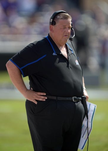Oct 12, 2013; Fort Worth, TX, USA; TCU Horned Frogs coach Charlie Weis during the game against the Kansas Jayhawks at Amon G. Carter Stadium. Mandatory Credit: Kirby Lee-USA TODAY Sports
