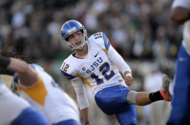 Oct 12, 2013; Fort Collins, CO, USA; San Jose State Spartans kicker Austin Lopez (12) successful kicks the go head field goal in the third quarter against the Colorado State Rams at Hughes Stadium. The Spartans defeated the Rams 34-27. Mandatory Credit: Ron Chenoy-USA TODAY Sports