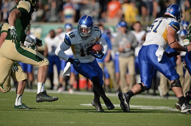 Oct 12, 2013; Fort Collins, CO, USA; San Jose State Spartans tight end Billy Freeman (18) runs after a reception in the third quarter against the Colorado State Rams at Hughes Stadium. The Spartans defeated the Rams 34-27. Mandatory Credit: Ron Chenoy-USA TODAY Sports