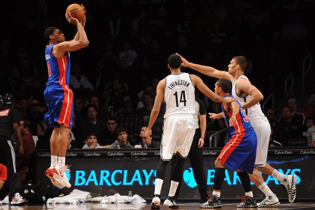 Oct 12, 2013; Brooklyn, NY, USA; Detroit Pistons power forward Tony Mitchell (9) takes a shot against the Brooklyn Nets during the first half of the preseason game at Barclays Center. Mandatory Credit: Joe Camporeale-USA TODAY Sports