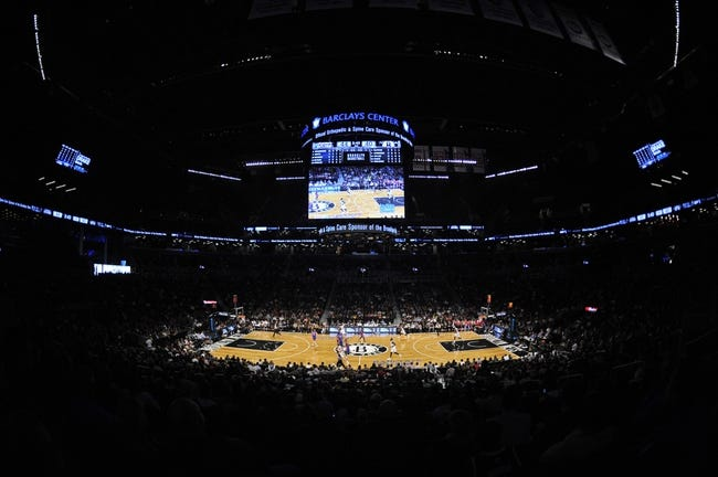 Oct 12, 2013; Brooklyn, NY, USA; A general view of game action between the Brooklyn Nets and Detroit Pistons during the first half of the preseason game at Barclays Center. Mandatory Credit: Joe Camporeale-USA TODAY Sports