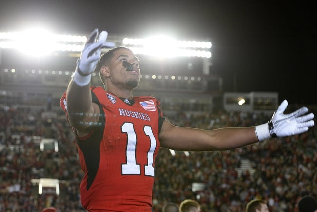 Oct 12, 2013; DeKalb, IL, USA; Northern Illinois Huskies defensive back Mycial Allen (11) reacts to the crowd against the Akron Zips during the second half at Huskie Stadium. Northern Illinois defeats Akron 27-20. Mandatory Credit: Mike DiNovo-USA TODAY Sports
