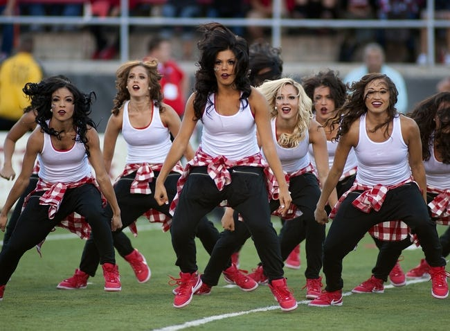 Oct 12, 2013; Las Vegas, NV, USA; The UNLV dance team Rebel Girls entertain the crowd during a timeout between the UNLV Rebels and Hawaii Rainbow Warriors NCAA football game at Sam Boyd Stadium. Mandatory Credit: Stephen R. Sylvanie-USA TODAY Sports