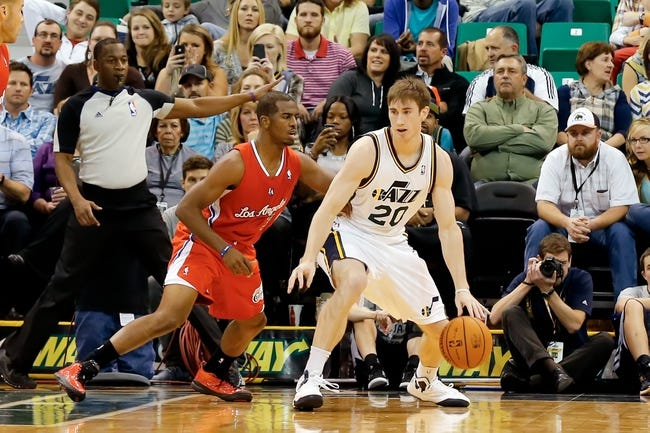 Oct 12, 2013; Salt Lake City, UT, USA; Utah Jazz small forward Gordon Hayward (20) being guarded by Los Angeles Clippers point guard Chris Paul (3) during the second quarter at EnergySolutions Arena. Mandatory Credit: Chris Nicoll-USA TODAY Sports