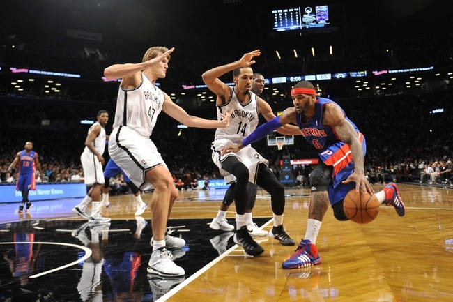 Oct 12, 2013; Brooklyn, NY, USA; Detroit Pistons small forward Josh Smith (6) drives the lane against the Brooklyn Nets during the second half of the preseason game at Barclays Center. The Pistons won the game 99-88 Mandatory Credit: Joe Camporeale-USA TODAY Sports