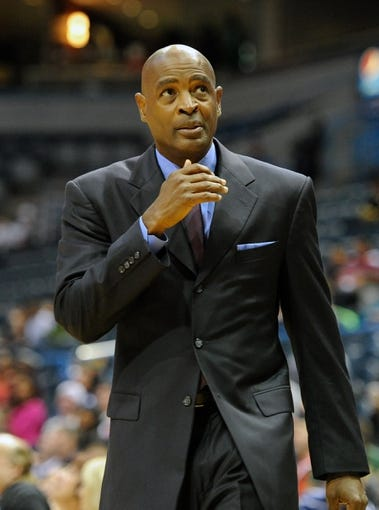 Oct 12, 2013; Milwaukee, WI, USA;   Milwaukee Bucks head coach Larry Drew watches the game against the Charlotte Bobcats in the 4th period at BMO Harris Bradley Center. Mandatory Credit: Benny Sieu-USA TODAY Sports