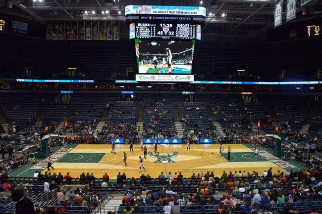 Oct 12, 2013; Milwaukee, WI, USA;   The Milwaukee Bucks unveil their new floor during the game against the Charlotte Bobcats at BMO Harris Bradley Center. Mandatory Credit: Benny Sieu-USA TODAY Sports