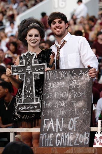 Oct 12, 2013; Starkville, MS, USA; Mississippi State Bulldogs fans Jordan Holley and Josh Hill dress for homecoming  prior to the game against the Bowling Green Falcons at Davis Wade Stadium. Mandatory Credit: Marvin Gentry-USA TODAY Sports